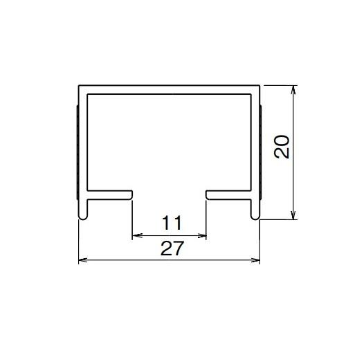 ダイケン アルミ ドアハンガー SD10B レール(下部用) 1820mm シルバー製品図面・寸法図