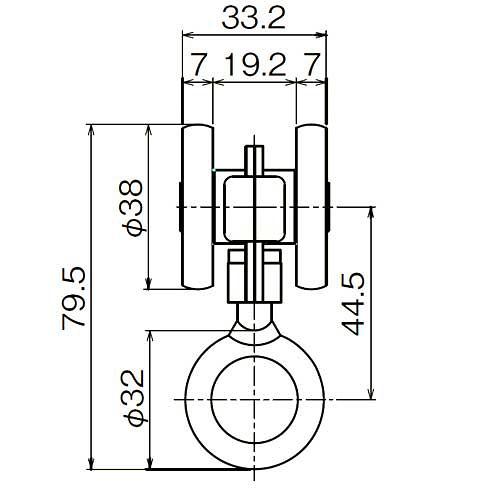 ダイケン 2号 スチール ドアハンガー用 リング付単車2型