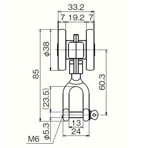 ダイケン 2号 スチール ドアハンガー用 シャックル付き単車2型