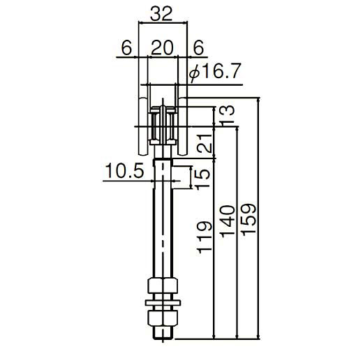 ダイケン 2号 スチール ドアハンガー用 複車ロングボルト仕様1