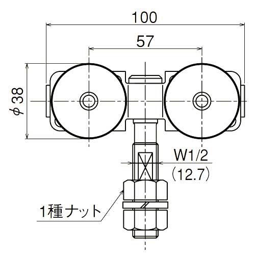 ダイケン 2号 スチール ドアハンガー用 ベアリング複車 フレキシブルタイプ ロングボルト仕様1
