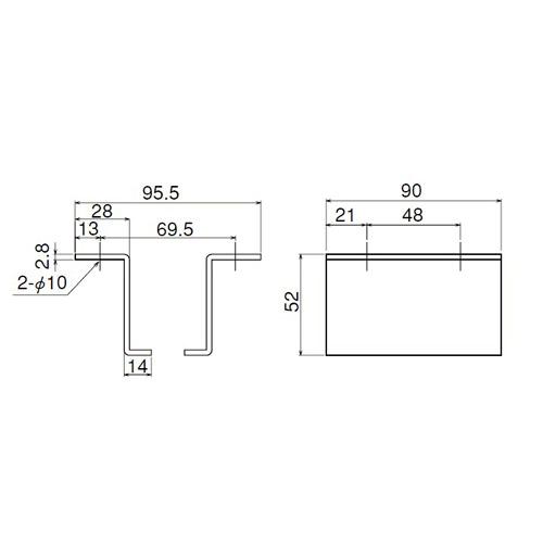 ダイケン 2号 ドアハンガー用 L型天井継受製品図面・寸法図