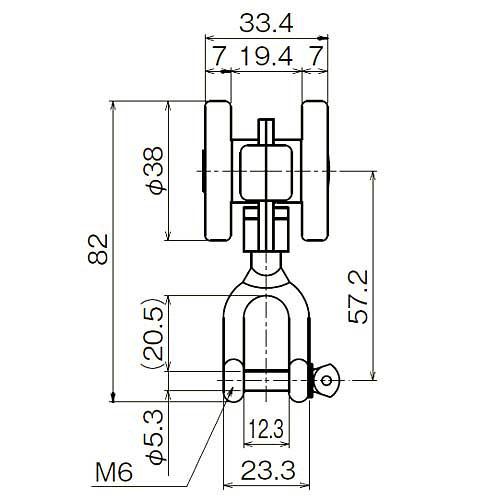ダイケン 2号 ステンレス ドアハンガー用 シャックル付単車2型