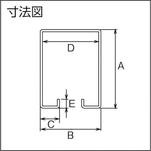 ダイケン 2号 ステンレス ハンガーレール 3640製品図面・寸法図