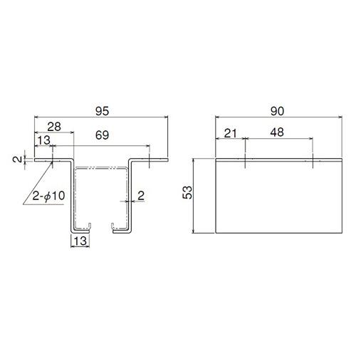 ダイケン 2号 ステンレス ドアハンガー用 L型天井継受製品図面・寸法図