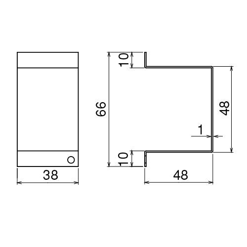 ダイケン 2号 ドアハンガー用 サイドカバー製品図面・寸法図