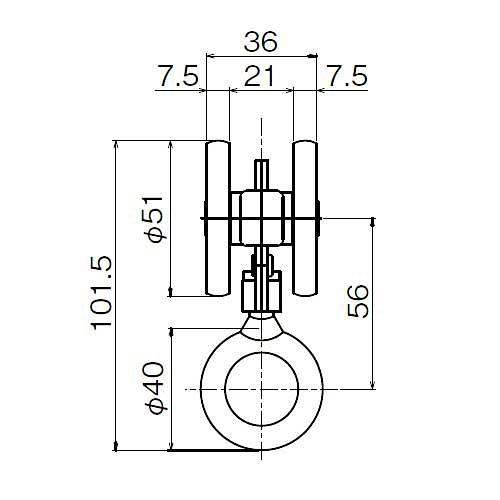 ダイケン 3号 スチール ドアハンガー用 リング付単車2型