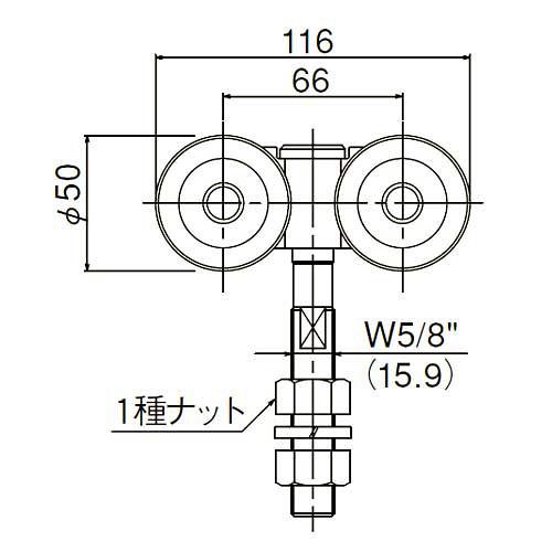ダイケン 3号 スチール ドアハンガー用 複車ロングボルト仕様1