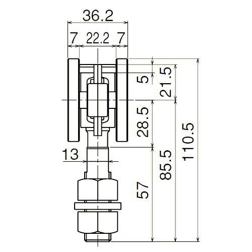 ダイケン 3号 スチール ドアハンガー用 ベアリング複車 フレキシブルタイプ ロングボルト仕様1