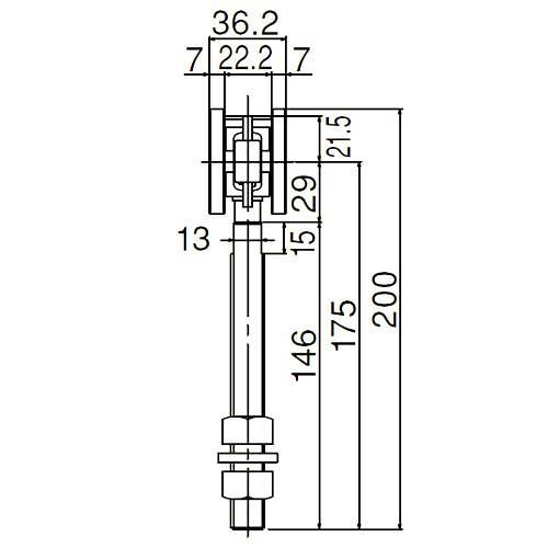 ダイケン 3号 スチール ドアハンガー用 ベアリング複車 フレキシブルタイプ ロングボルト仕様2