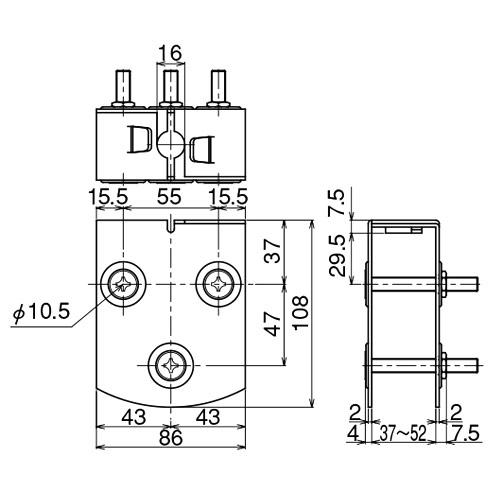 ダイケン 3号 ドアハンガー用 エプロン製品図面・寸法図