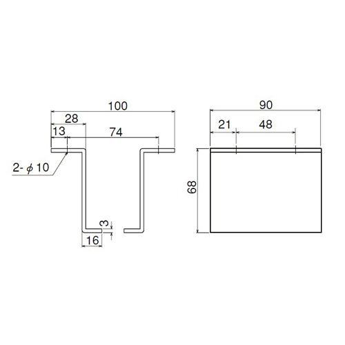 ダイケン 3号 ドアハンガー用 L型天井継受製品図面・寸法図