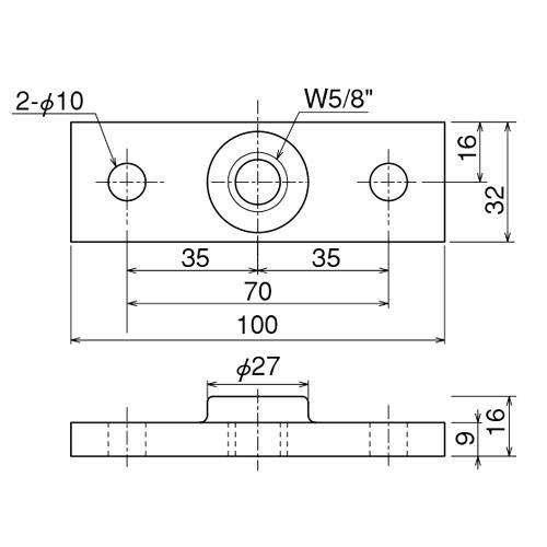 ダイケン 3号 ドアハンガー用 プレート製品図面・寸法図