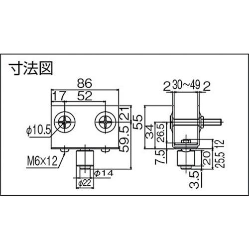 ダイケン 3号 ステンレス ドアハンガー用 枠付ガイドローラ製品図面・寸法図