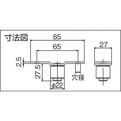 ダイケン 3号 ステンレス ドアハンガー用 ガイドローラ製品図面・寸法図