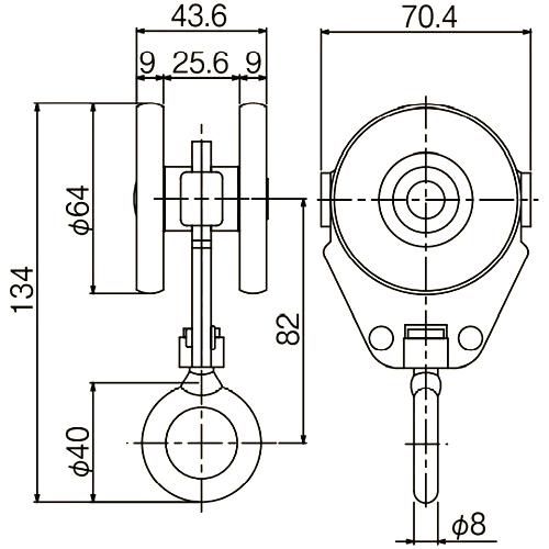 ダイケン 4号 スチール ドアハンガー用 リング付単車2型