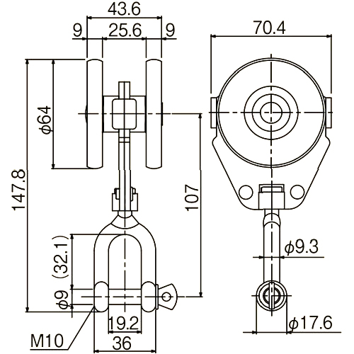 ダイケン 4号 スチール ドアハンガー用 シャックル付単車2型