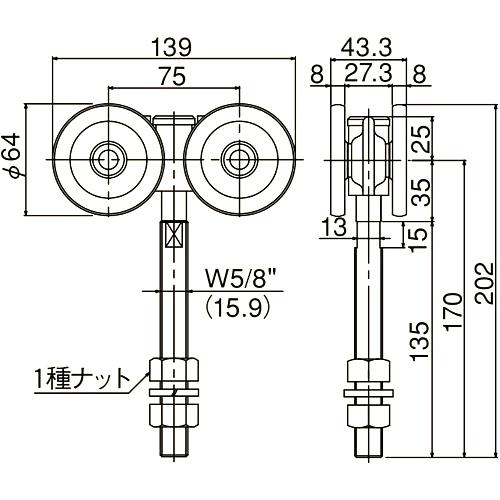 ダイケン 4号 スチール ドアハンガー用 複車ロングボルト仕様1