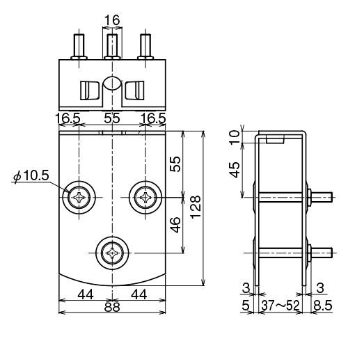 ダイケン 4号 ドアハンガー用 エプロン製品図面・寸法図