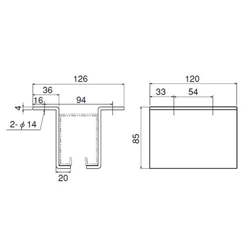 ダイケン 4号 ドアハンガー用 L型天井継受製品図面・寸法図