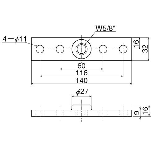 ダイケン 4号 ドアハンガー用 プレート製品図面・寸法図