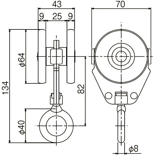 ダイケン 4号 ステンレス ドアハンガー用 リング付単車2型