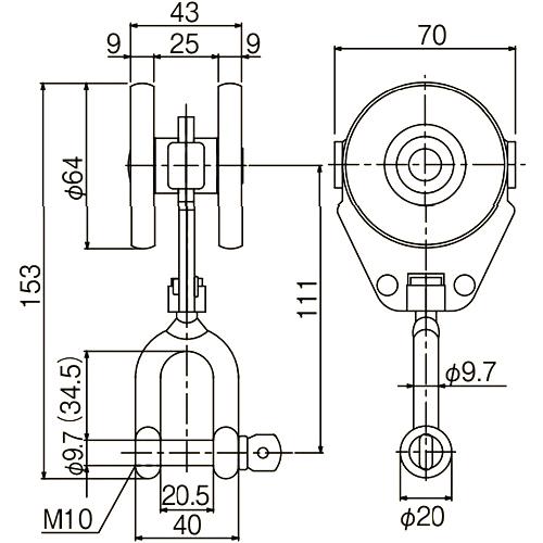 ダイケン 4号 ステンレス ドアハンガー用 シャックル付単車2型