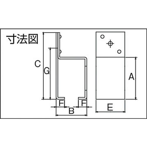ダイケン 4号 ステンレス ドアハンガー用 横受一連製品図面・寸法図