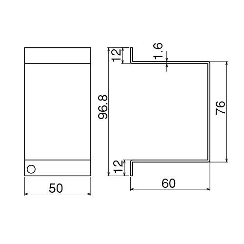 ダイケン 4号 ドアハンガー用 サイドカバー製品図面・寸法図