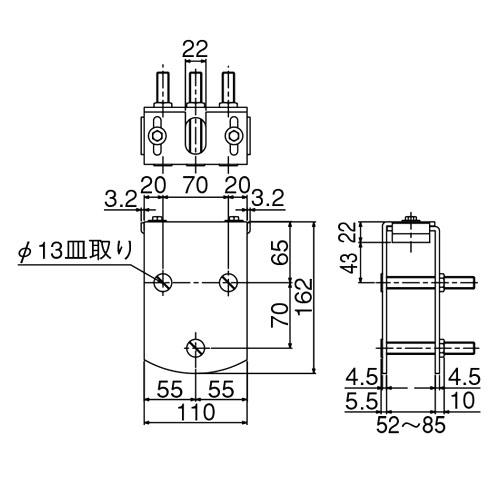 ダイケン 5号 ドアハンガー用 エプロン製品図面・寸法図