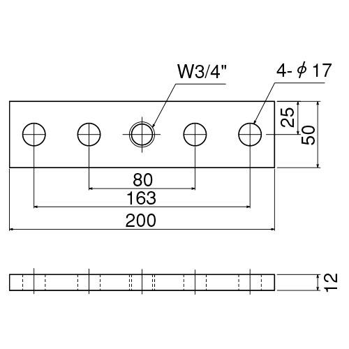 ダイケン 5号 ドアハンガー用 プレート製品図面・寸法図