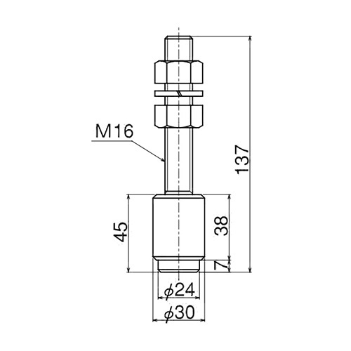 ダイケン 5号 ステンレス ドアハンガー用 ボルトタイプ ガイドローラ製品図面・寸法図