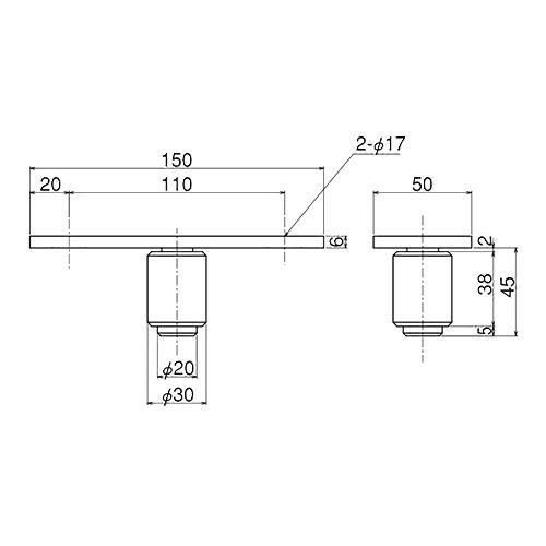 ダイケン 5号 ステンレス ドアハンガー用 ガイドローラ製品図面・寸法図