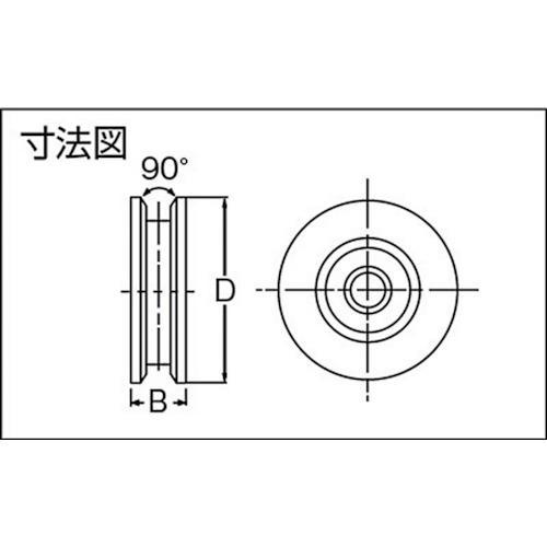 ダイケン 重量戸車用車 車径Φ90製品図面・寸法図