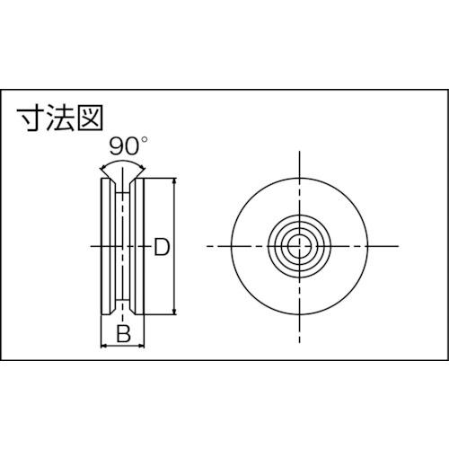ダイケン ステンレス製重量戸車用車 車径Φ90製品図面・寸法図