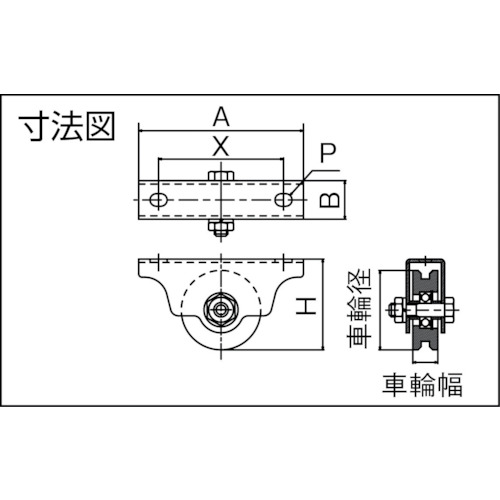 ダイケン ステンレス製重量戸車 車径Φ80製品図面・寸法図