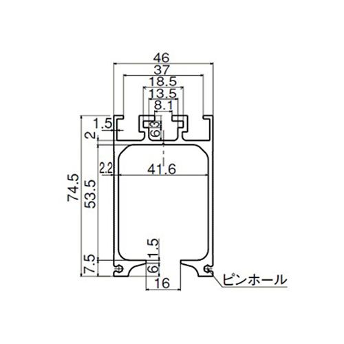 ダイケン マテハン MTH2 アルミレール3m シルバー製品図面・寸法図