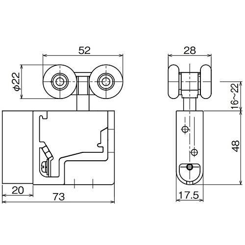 ダイケン アルミ ドアハンガー SD10 調整式複車 カバー薄型・ベアリング入り製品図面・寸法図