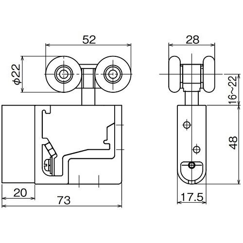 ダイケン アルミ ドアハンガー SD10 調整式複車製品図面・寸法図