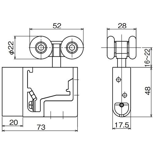 ダイケン アルミ ドアハンガー SD10 調整式複車 カバー薄型製品図面・寸法図