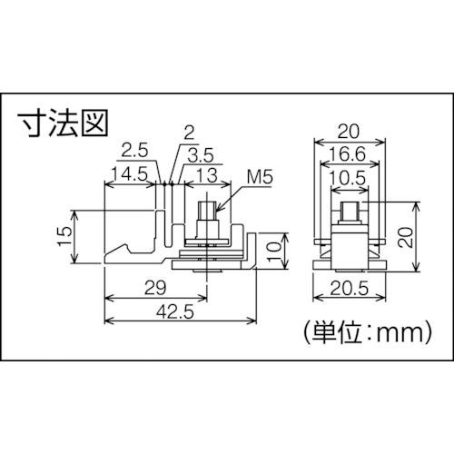 ダイケン アルミ ドアハンガー SD10 ストッパー付戸当り製品図面・寸法図