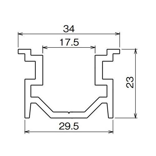 ダイケン アルミ ドアハンガー SD15 ガイドレール 3640mm シルバー製品図面・寸法図