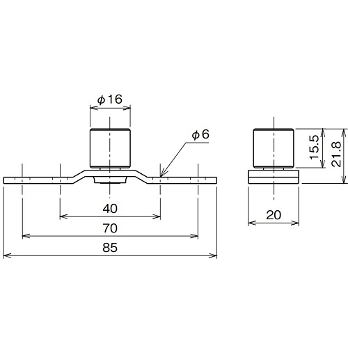 ダイケン アルミ ドアハンガー SD15 ガイドローラ製品図面・寸法図
