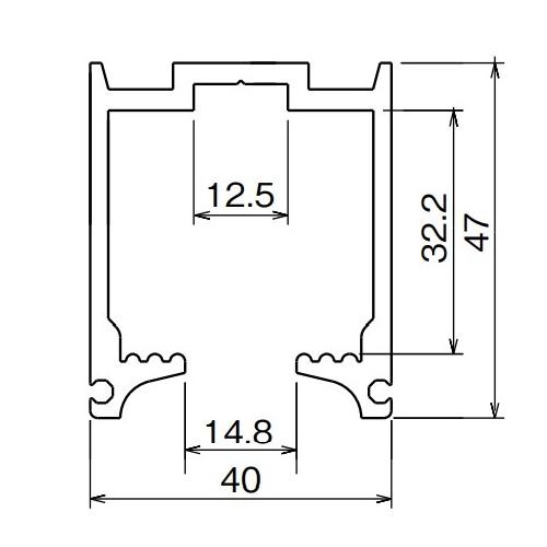 ダイケン アルミ ドアハンガー SD15 レール 1820mm シルバー製品図面・寸法図