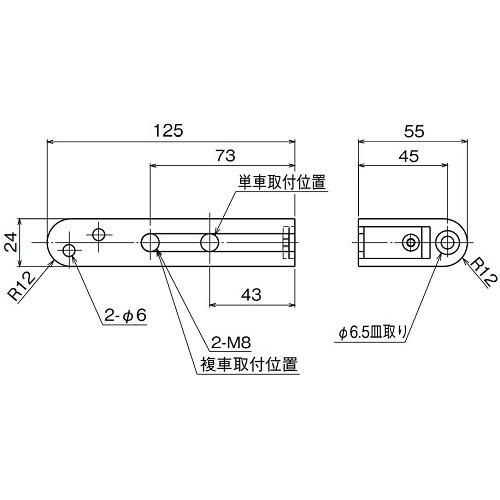 ダイケン アルミ ドアハンガー SD15 インサイドプレート製品図面・寸法図