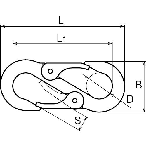 ASANO ダブルフック 8mm 製品図面・寸法図