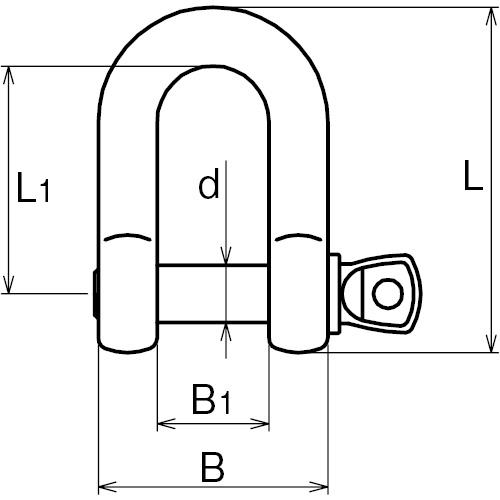 ASANO ピンシャックル (鍛造) 14mm 製品図面・寸法図