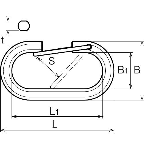 ASANO ストロングリンクA型 (ステンレス) 8mm 製品図面・寸法図