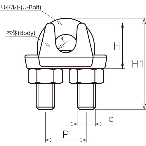 ASANO ワイヤークリップ SUS316 (4mm) 製品図面・寸法図-1