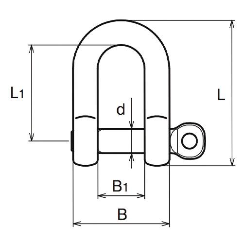 ASANO LKシャックル P型 6mm 製品図面・寸法図